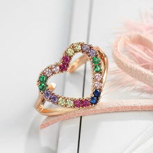 2019 New Fashion Ring Hollow Heart Rose Gold Rainbow Color Zircon Open ring Female Jewelry Girl Sweet Gifts ,1PC