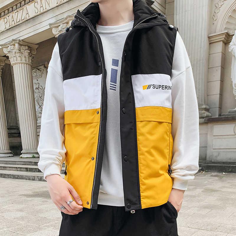 BROWON 남자 브랜드 2020 조끼 자 켓 남자 새로운 겨울 따뜻한 민소매 자 켓 남성 패션 조끼 남자 조끼 플러스 크기 M-4XL