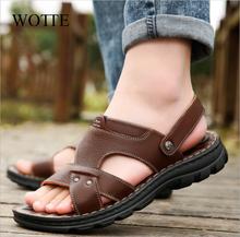 WOTTE letnie sandały męskie obuwie wygodne sandały jazdy dla mężczyzn sandalias hombre buty dla mężczyzn plaża sandalias tanie tanio Prawdziwej skóry Skóra bydlęca Podstawowe Moda RUBBER Slip-on Mieszkanie (≤1cm) latex Pasuje prawda na wymiar weź swój normalny rozmiar