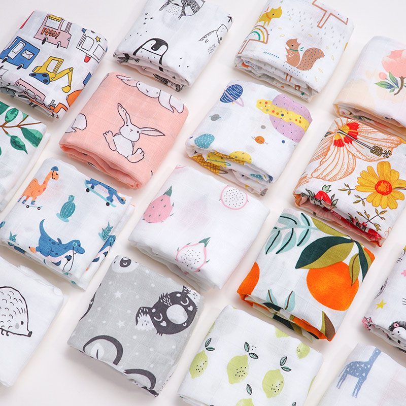 60*60 Muslin Bamboo Cotton Baby Blanket Swaddle Soft Cartoon Animal Print Scarf Multifunction Wrap Burp Cloths Towel Accessories