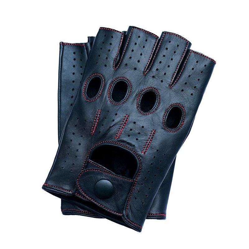 Mens Genuine Leather Gloves Driving Unlined 100% Goatskin Leisure Half Fingerless Gloves Fingerless Fitness Gloves Free Shipping