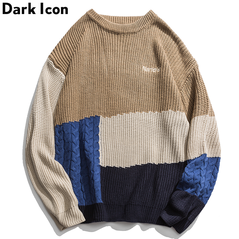 Dark Icon Color Block Patchwork Knitted Sweater Streetwear Harajuku Hip Hop Casual Pullover Knitwear Jumper Sweater Fashion Top