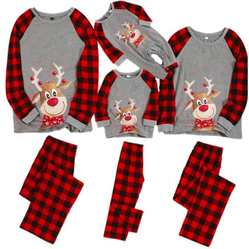 Pyjamas de noël correspondant vêtements noël explosif cerf impression col rond et Plaid famille Parent enfant costume automne vêtements