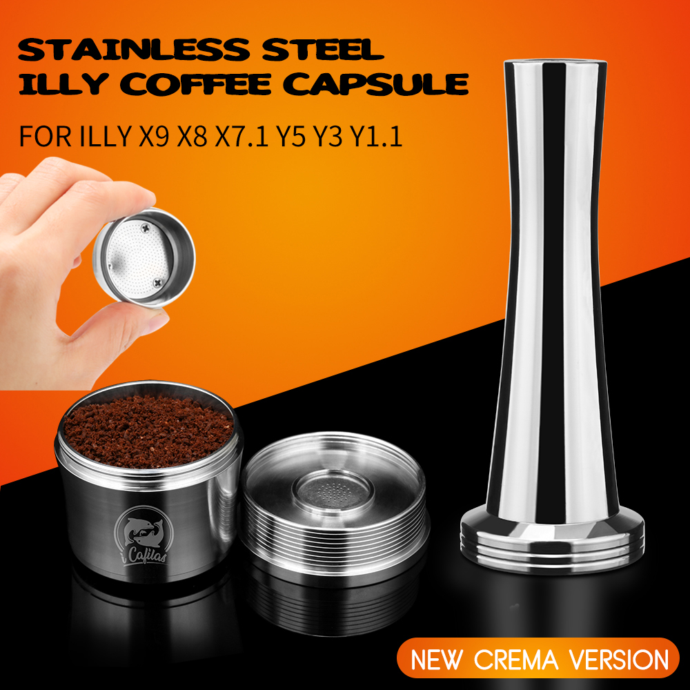 4PCS/set Stainless Steel Reusable Coffee Filter Refillable Capsule Cup Pod Tamper For ILLY Machine Refill Capsula Gift
