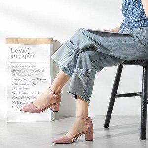 Image 2 - Zapatos de tacón alto cuadrado para mujer, sandalias de ante de imitación con correa en el tobillo, con punta en pico, para oficina, 2020