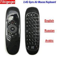 Tikigogo C120 Английский Арабский Испанский макет 2,4G РФ воздуха мышь Беспроводной клавиатура Пульт дистанционного управления для Android Smart ТВ коробка X96 макс