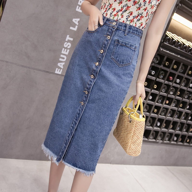 Denim Skirt 200 Of Fat Mm Large Size Dress Mid-length Flash Skirt Slimming