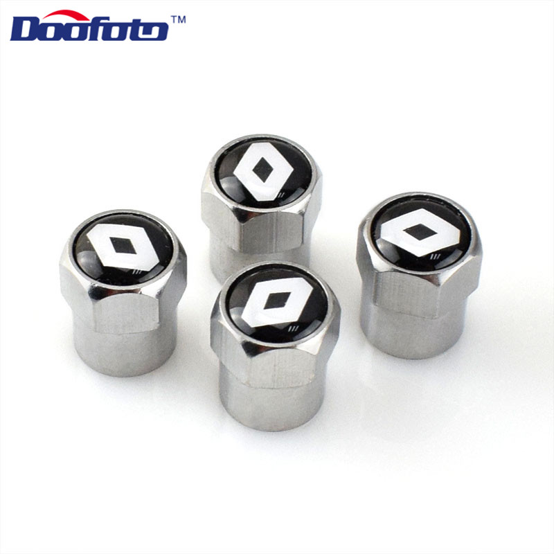 Doofoto 4x For Renault Car Valve Caps Tire Air Tyre Stems Cover For Renault Clio 2 4 Megane 2 3 Duster Car Accessories Styling