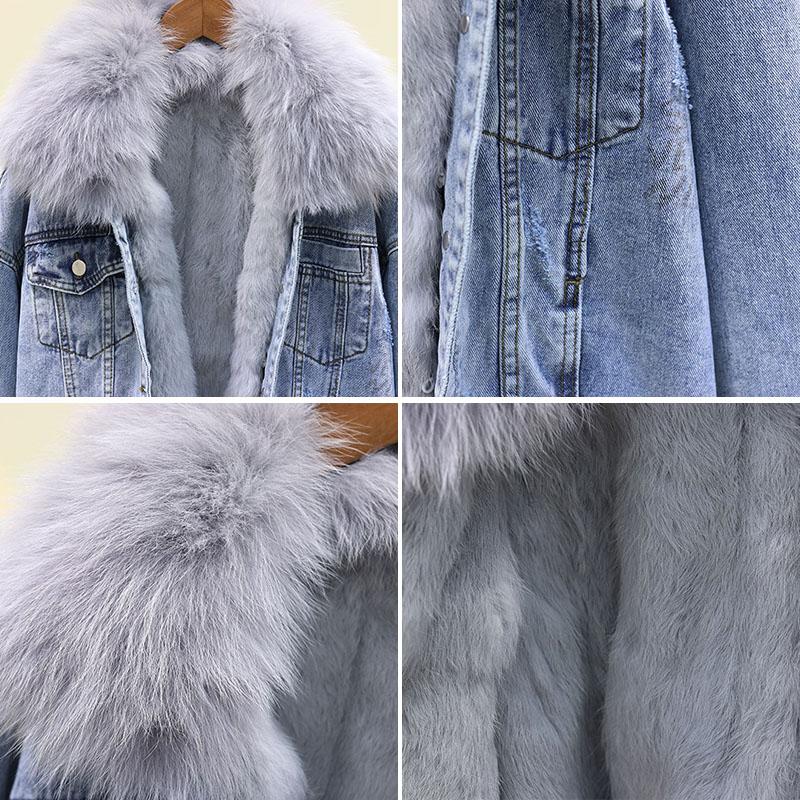 Джинсовая куртка с большим меховым воротником, женское базовое пальто, зимняя съемная подкладка из кроличьей шерсти, Толстая теплая джинсовая куртка, свободное женское джинсовое пальто - 5