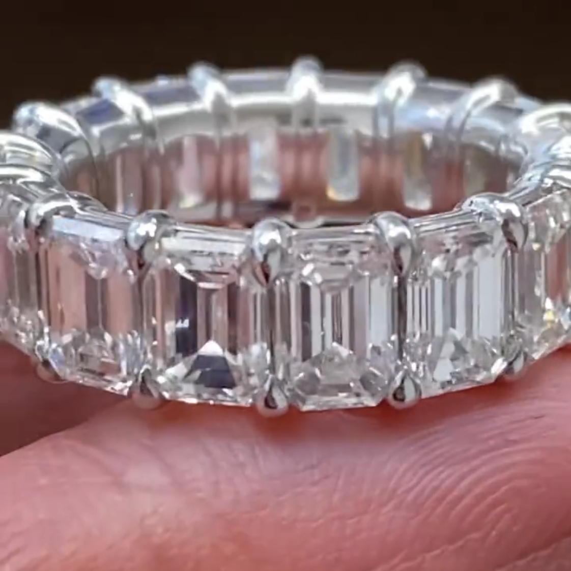 Eternal 925 Sterling silver Pave Emerald cut Created Moissanite Rings for Women ENGAGEMENT WEDDING Diamond BAND Ring Jewelry