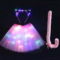 Women Girl LED Light Cat Costume Cosplay Tutu Skirt Wedding Birthday Animal Ear Headband Tail Neon Glow Party Festival Clothing