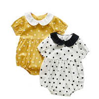 0-3Y Baby's Bodysuit Summer Newborn Clothes Short Sleeve Baby Girl's Twins Clothes Little Lapel Polka Dot Baby Girl Clothes Baby