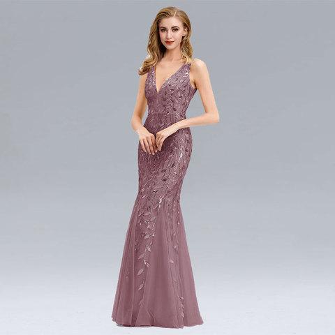 Beauty Emily V Neck Strapless Evening Dresses Silver Appliques Tulle Mermaid Dress Pleated Zipper Open Back Vestido de noche Lahore