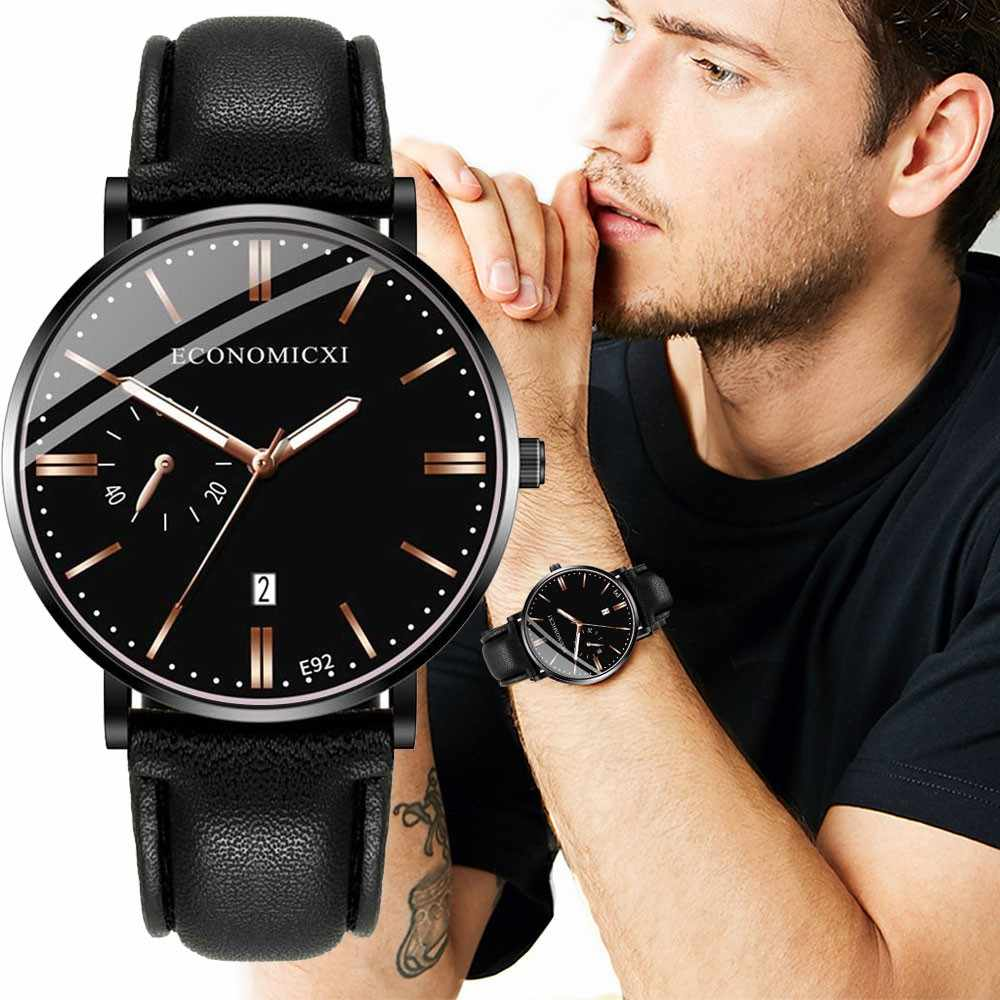 Saatleri腕時計メンズ高級ビッグ合金ダイヤルアナログスポーツpuレザーベルトビジネスクォーツメンズ腕時計 часы мужские 2020