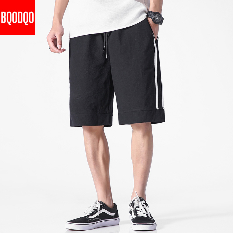 Stripe Black Casual Board Shorts For Men Cotton Oversized Drawstring Summer Beach Short Pants Fashion Streetwear Harem Trousers