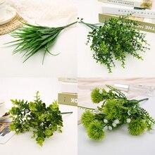 7 вилок водная трава эвкалипта пластиковые искусственные растения зеленая трава пластиковые цветы, растения, свадебные украшения для дома настольные декорации