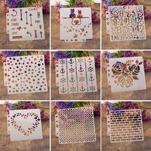 9 pçs/set Coração Pintura Do Airbrush Stencil Álbum Scrapbooking DIY Craft Reutilizável do Navio Da Gota