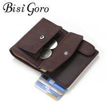Bisi goro bolsa para cartão de crédito, carteira porte carte rfid antifurto fashion porta-passaporte masculino bolsa de moedas feminina