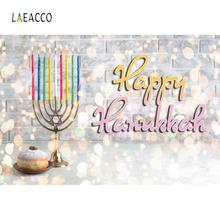Laeacco Happy Hanukkah Festivals Colorful Brick Wall Menorah Candles Polka Dots Baby Photo Background Photography Backdrops