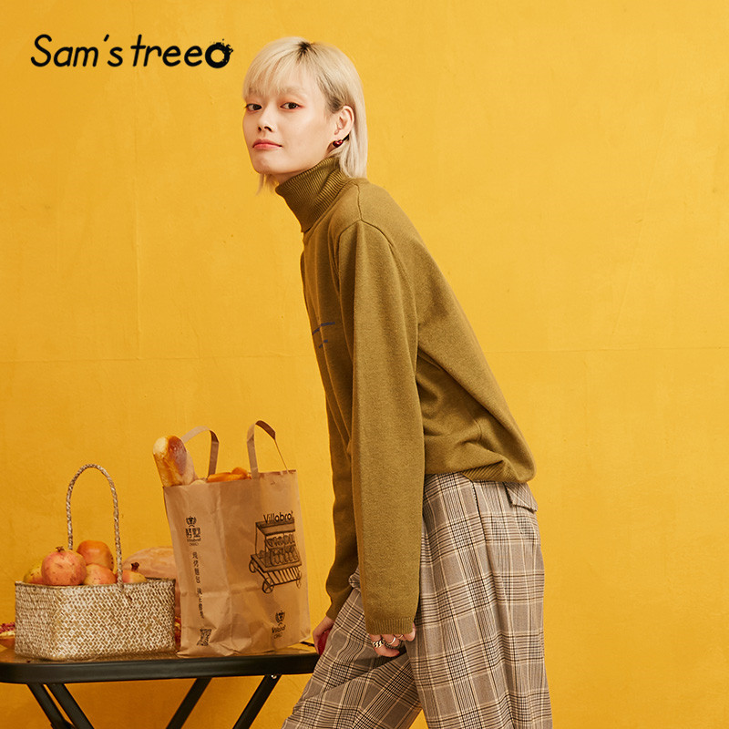 Image 2 - SAMS TREE Solid Turtleneck Minimalist Style Pullover Sweater Women 2019 Autumn Full Sleeve Knitted Casual Office Ladies TopsPullovers   -