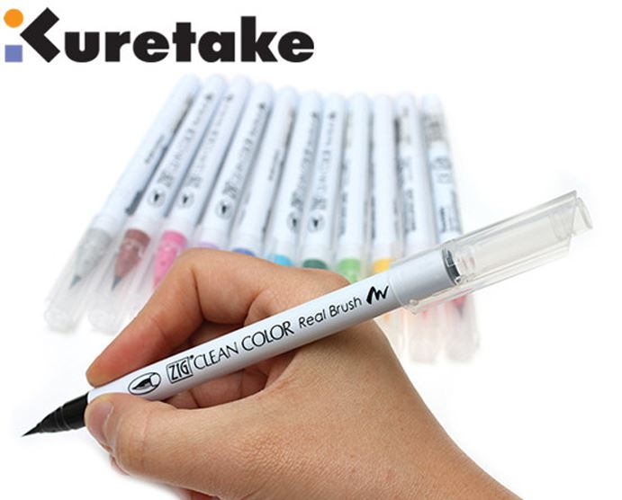 1pc Japan Zig Kuretake RB-6000AT Clean Color Real Brush Soft Tip For Comic Drawing Watercolour Pens  90 Colours Optional