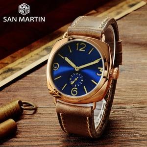Image 3 - Часы San Martin из бронзы, деловые повседневные Простые мужские кварцевые часы с кожаным ремешком, светящиеся водонепроницаемые до 200 м