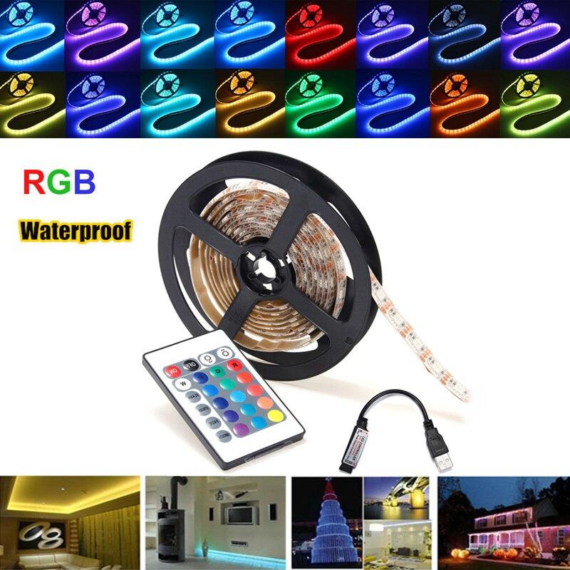 Waterproof LED Strip Light 0.5/1/2/3/4/5M RGB SMD5050 LED Strip TV Backlilghting Kit + USB Remote Control DC5V