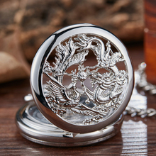 Retro Mechanical Pocket Watch Dragon Play Ball Steampunk Skeleton Hand-Wind Flip Clock Fob Watch with Chain Double Hunter Gift