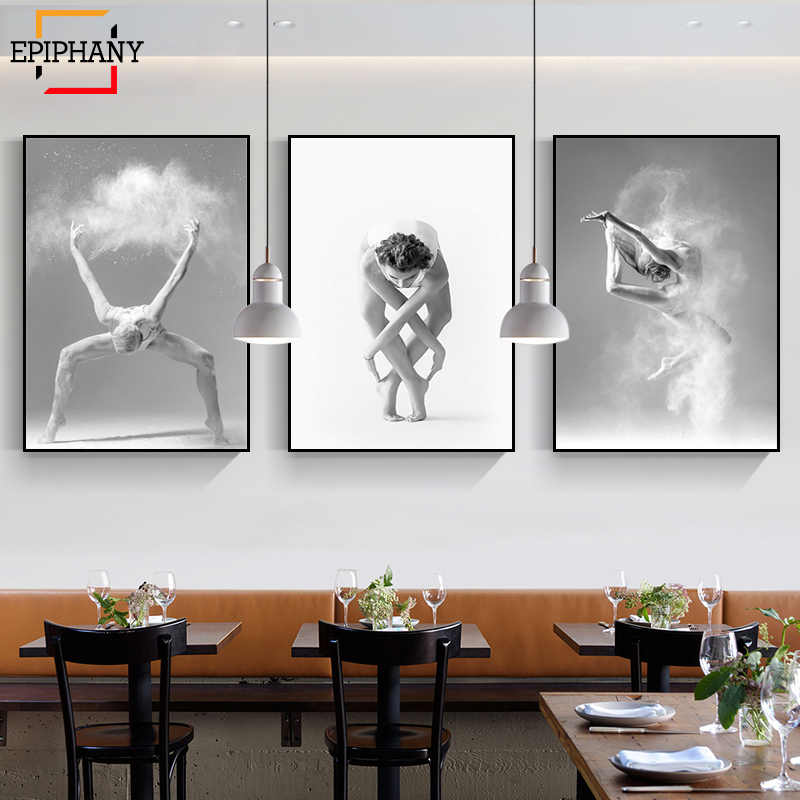 Canvas Print Picture Wall Art Nordic Poster Black and White Ballet Dance Lady Sketch Painting Home Decoration Module Living Room