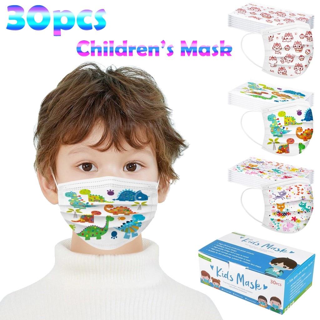 10/15/25/30/50/100 pces máscaras descartáveis máscara facial dos desenhos animados dinossauro gato máscara das crianças com elástico earloop mascarillas infantil