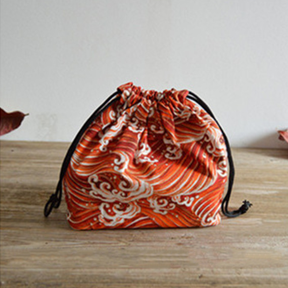 Pouch Picnic Portable School Students Drawstring Printed Bento Box Lunch Bag Cotton Linen Travel Japanese Style Storage