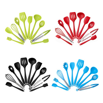 10 Silicone Kitchenware Non-stick Cookware Cooking Tool Spatula Ladle Egg Beaters Shovel Spoon Soup Kitchen Utensils Set 2
