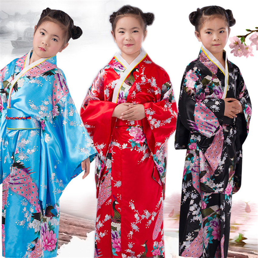 Traditional Girls Satin Dress Kimono Obi Peacock Princess Costume New Years Festival Party Toddler Baby Performance Clothing