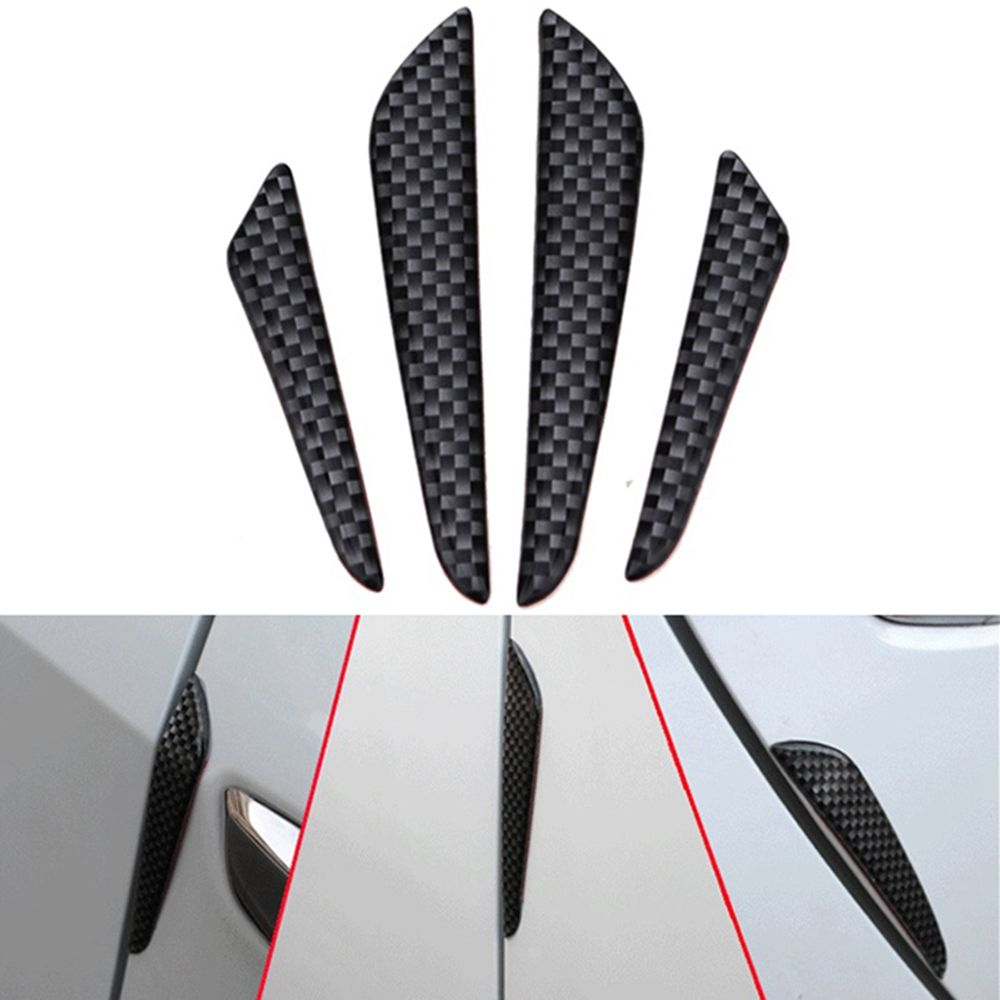 4Pcs Black Carbon Fiber Sticker Car Door Edge Protector Anti Collision Scratch