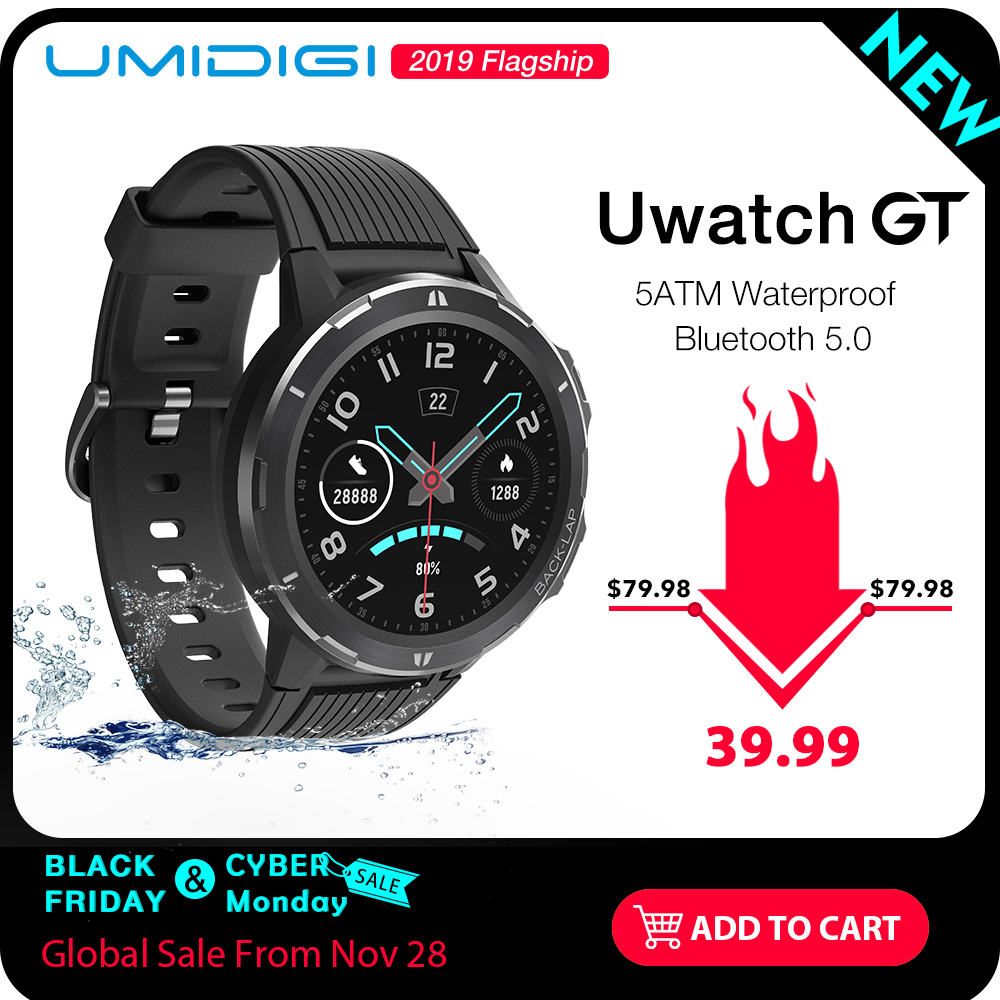 UMIDIGI Uwatch GT Smart Watch 5ATM Waterproof Bluetooth Smartwatch 15 Days Standby Sport Band Heart Rate Monitor For Android iOS thumbnail