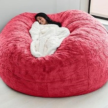 Cover Bean-Bag Lazy-Sofa Living-Room-Furniture Round Giant Soft Fluffy Big 200cm Faux-Fur