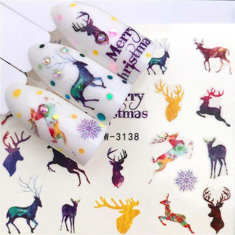 1pcs 3D Nail Stickers Art Decalques Wraps Unhas Flocos De Neve de Natal Do Boneco de neve de Natal Deslizante Manicure Decoração Dica de Ferramenta