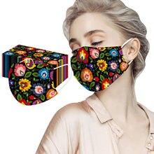 Masques faciaux jetables à motif floral pour femmes, 50 pièces, élégants, à la mode, Non tissés, anti-poussière, sans décoration