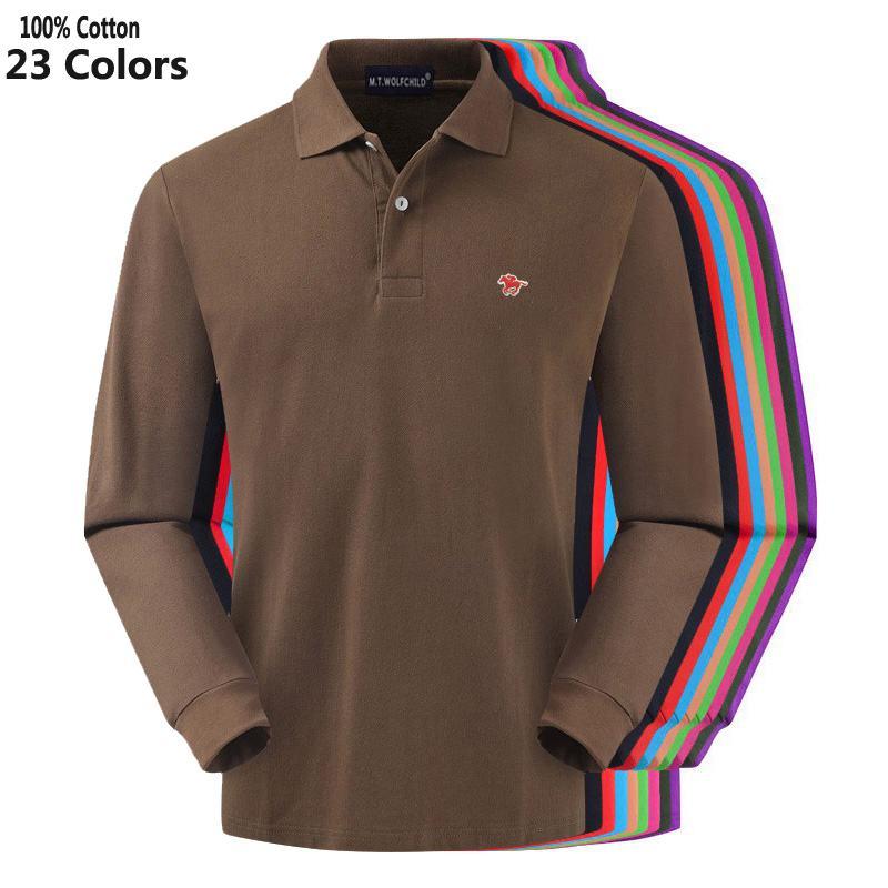 100% Cotton Top Quality 2019 Autumn Men's Long Sleeve Polos Shirts Casual Lapel Small Horse Mens Polos Shirts Fashion Mens Tops