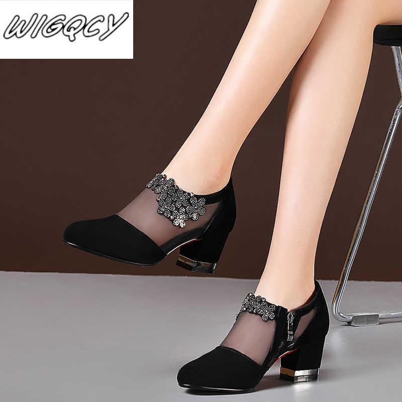 Yaz yüksek topuklu kadın ayakkabıları örgü nefes pompaları Zip sivri burun ayak kalın topuklu moda kadın elbisesi ayakkabı zarif ayakkabı