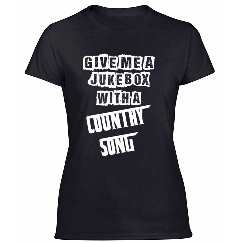 Printed Funny Give Me A Jukebox With A Country Song T Shirt Kawaii Hilarious Men And Women T Shirts Black Short Sleeve Tee Shirt image