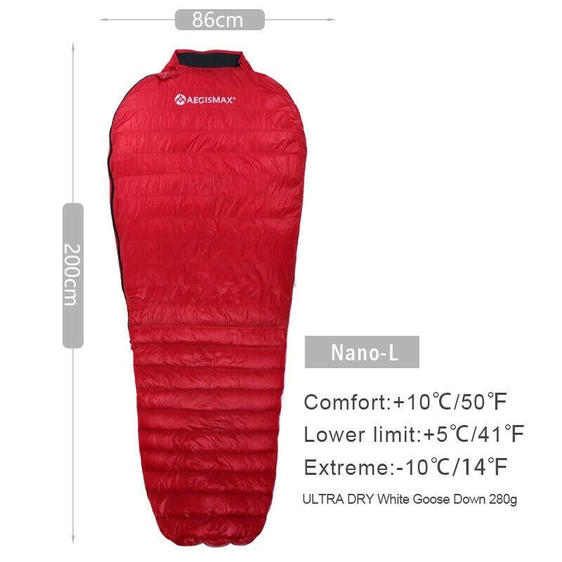 AEGISMAX NANO Sleeping Bag Camping Ultra-Light Goose Down Mummy Lightweight L/M