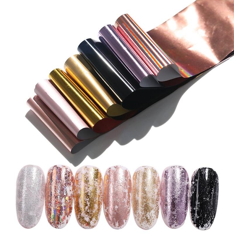 7 Colors/kit  Nail Foils Laser AB Colors Flakes Shiny Transfer Sticker  Design Tip Nail Art Decoration