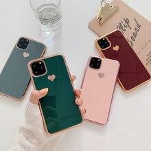 Гальванический чехол для телефона с сердечком для iPhone 11 11Pro Max XR XS X XS Max 7 8 6 6S Plus противоударный защитный чехол