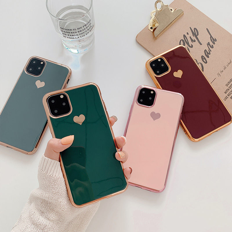 Electroplated love <font><b>heart</b></font> Phone <font><b>Case</b></font> For <font><b>iPhone</b></font> 11 11Pro Max XR XS X XS Max 7 8 6 <font><b>6S</b></font> Plus Shockproof Protective Back Cover capa image