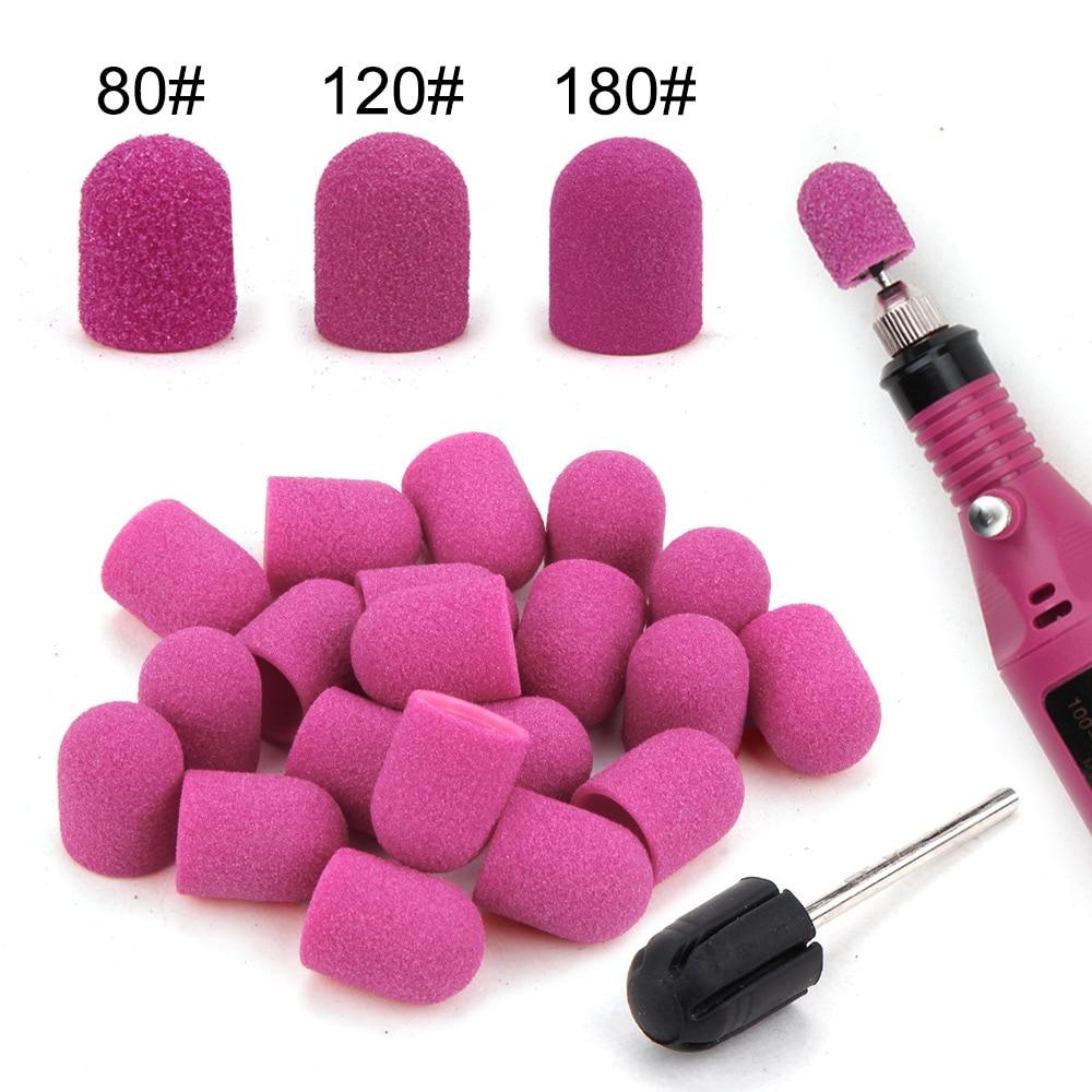 5 sztuk 10*15/13*19 paznokci szlifowanie czapki z gumowe żelowe Remover ceramiczne wiertło do paznokci Pedicure Manicure frezy Nails narzędzie