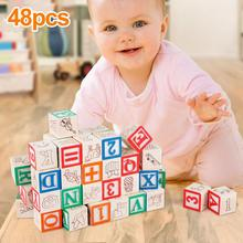 48-Wooden ABC & 123 Building Blocks Kids Alphabet Letters Numbers Bricks Toy Set  Early Educational Toy Geometric Assembling toy