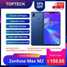 Küresel sürüm ASUS Zenfone Max M2 ZB633KL cep telefonu 6.3 inç 3GB 32GB 4000mAh çift SIM Android 8.1 4G LTE Smartphone
