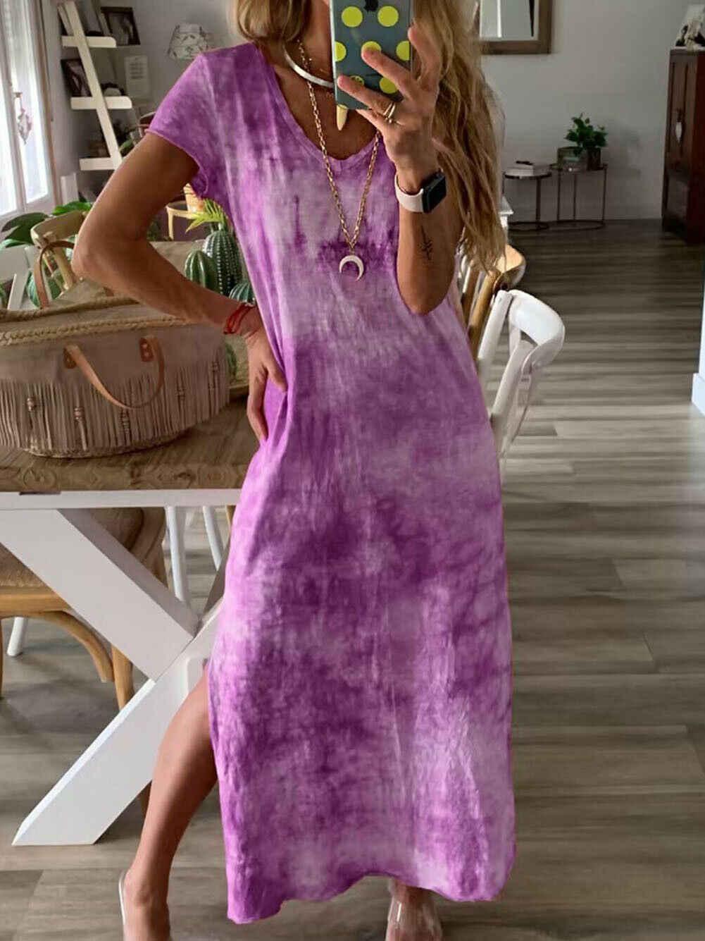 Plus Size Womens Katoen Zomer Korte Mouw Lange T-shirt Dames Casual Dress Boho Kaftan Tuniek Gypsy Etnische Beach Party Zonnejurk