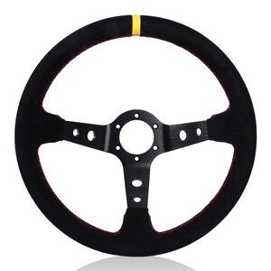 Image 2 - 350mm 14 Zoll Auto Lenkrad Wildleder Leder Drift Racing Spiel Lenkrad Universal